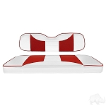 Front Seat COVER ONLY Custom Rally White/Red E-Z-GO Model RXV # SEAT-361WR-R