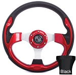 Steering Wheel and Black Adapter Kit Red Rally Yamaha Models G16/Drive2 # 06-060