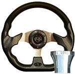 Steering Wheel and CHROME Adapter Kit Carbon Fiber Racer Club Car Model Precedent 2004 & UP # 06-071