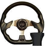 Steering Wheel and Black Adapter Kit Carbon Fiber Racer Club Car Model Precedent 2004 & UP # 06-091