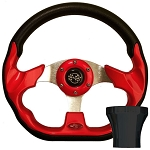 Steering Wheel and BLACK Adapter Kit Red Racer Club Car Model Precedent 2004 & UP # 06-099