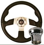Steering Wheel and Chrome  Adapter Kit Black Rally Sport Club Car Model Precedent 2004 & UP # 06-107