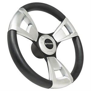 Gussi Italia® Steering Wheels Model 13 Black/Brushed New Italian Hand Made Luxury Line Club Car Model DS # 06-120