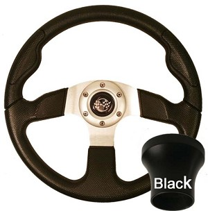 Steering Wheel and Black Adapter Kit Black Rally Sport Club Car Model Precedent 2004 & UP # 06-111